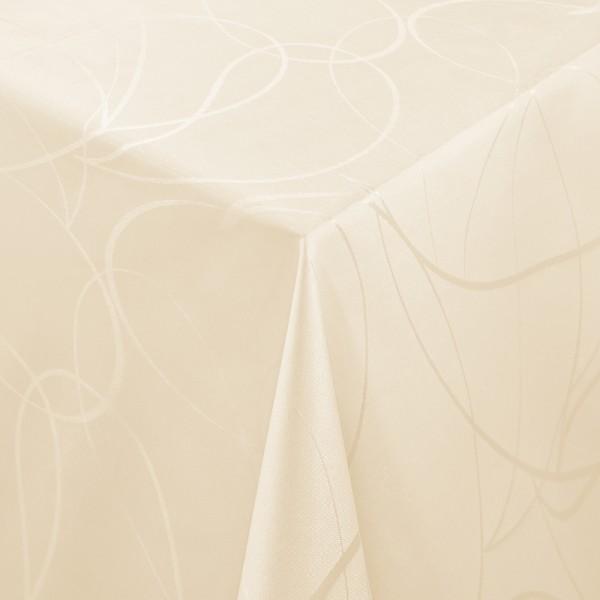 Tischdecken Aversa Jaquard-Gewebe in Creme-Champagner mit Fleckschutz