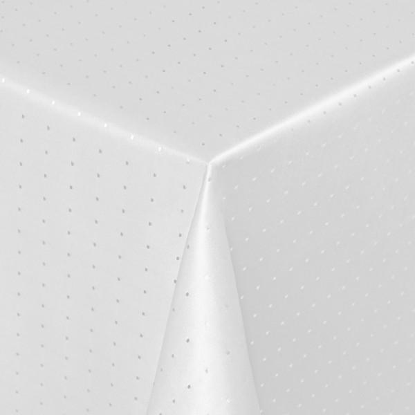Tischdecken Damast Eckig mit Saum Punkte Weiss