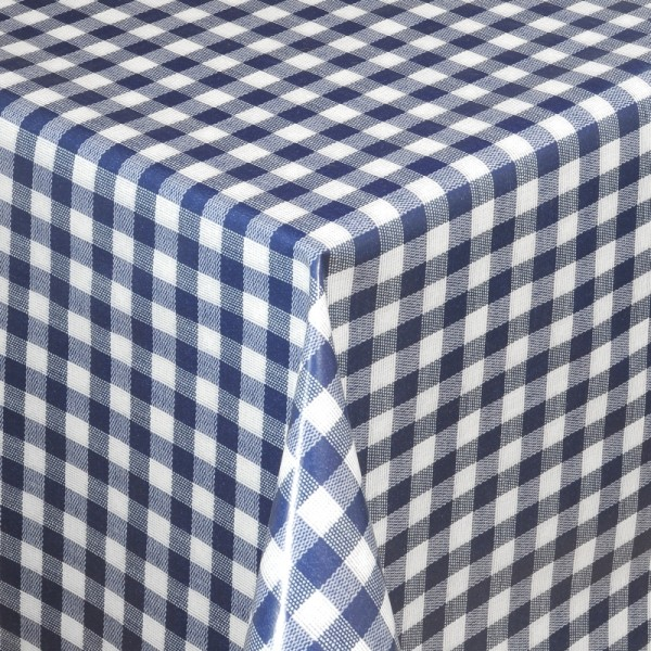 Tischdecke Abwaschbar Wachstuch Karos Dunkel-Blau Weiss im Wunschmaß