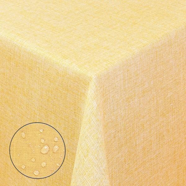 Tischdecken Damast Eckig Leinen Meliert wasserabweisend Gelb