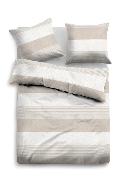 Bettwäsche Tom Tailor Melange-Flanell Streifen Motiv in Beige