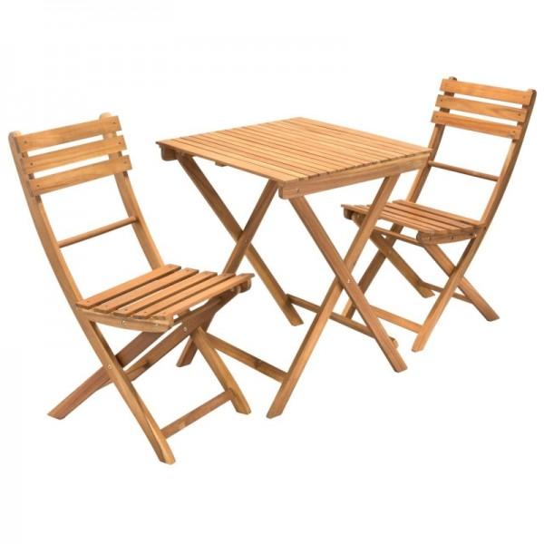 Balkonset Garten-Set geölt aus Akazienholz 2-Sitzer 3-teilig braun