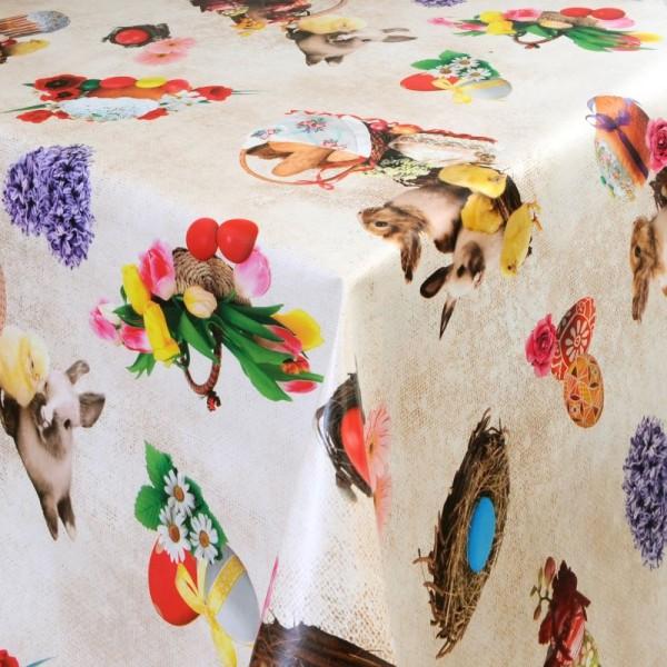 Tischdecke Abwaschbar Wachstuch Ostern Motiv Osterkorb im Wunschmaß