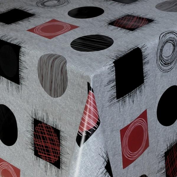 Tischdecke Abwaschbar Wachstuch Kreise und Quadrate Grau im Wunschmaß