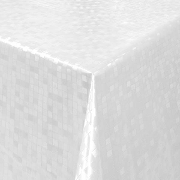 Tischdecke Abwaschbar Wachstuch Relief Quadrate Weiss im Wunschmaß