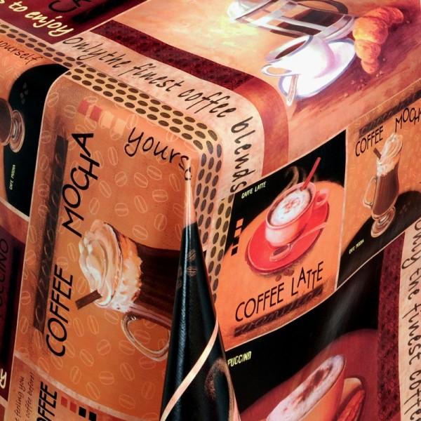 Tischdecke Abwaschbar Wachstuch Kaffee Motiv Braun im Wunschmaß