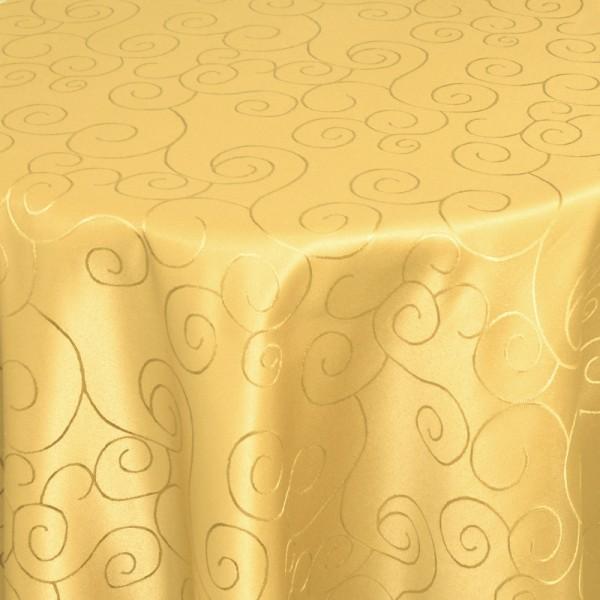 Tischdecken Damast Rund mit Saum Ornamente Dunkel-Gelb