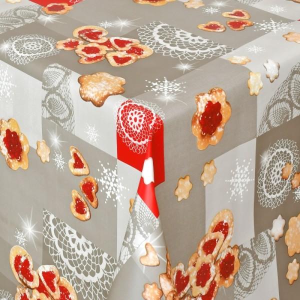 Tischdecke Wachstuch Weihnachten Lebensmittelecht Weihnachtsgebäck Grau