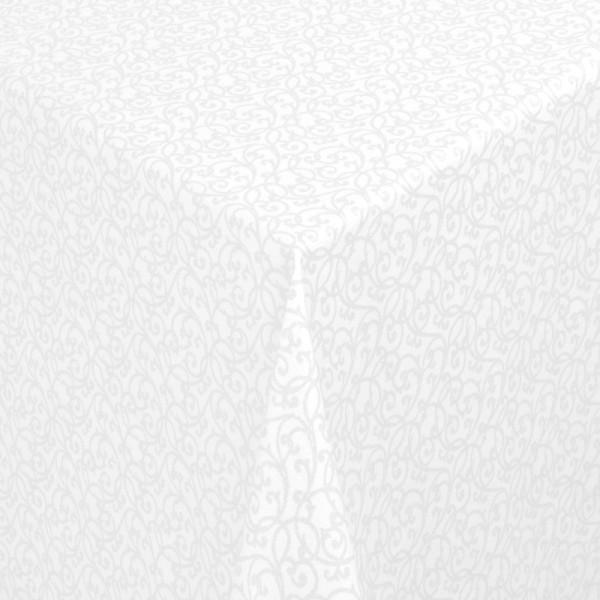 Tischdecken Pesaro 100% Baumwolle Ranken in Weiss-Silber mit Fleckschutz