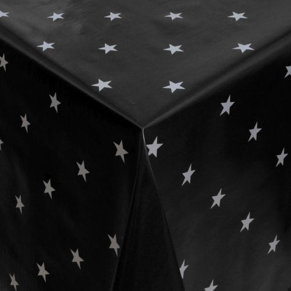 Tischdecke Abwaschbar Wachstuch Weihnachten mit Sternen Schwarz-Weiss