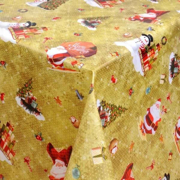 Tischdecke Abwaschbar Wachstuch Weihnachten Schneemann Motiv Gold