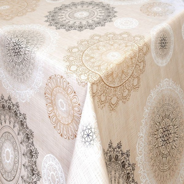 Tischdecke Abwaschbar Wachstuch Ornamente Motiv Creme im Wunschmaß