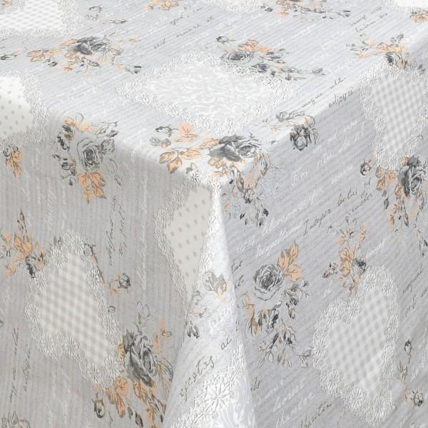 Tischdecken Ragusa mit Rosen Motiv Baumwolle mit Fleckschutz in Grau