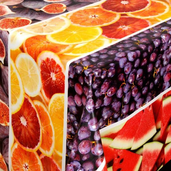 Tischdecke Abwaschbar Wachstuch Obst Motiv Grün Rot im Wunschmaß