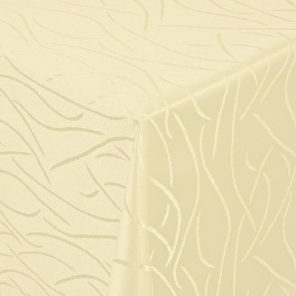 Tischdecken Damast Eckig mit Saum Streifen Creme-Beige