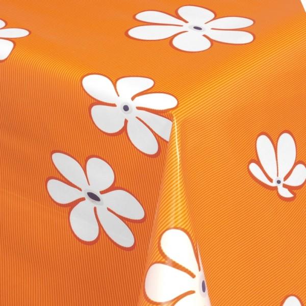 Tischdecke Abwaschbar Wachstuch Blumen Motiv Orange Weiss im Wunschmaß