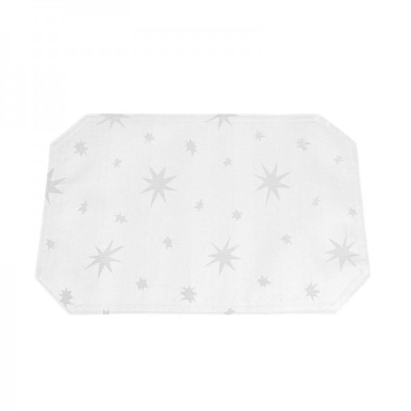 Tischsets Platzsets Lurex 30x45 cm in Weiss-Silber