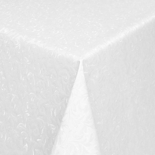 Tischdecke Abwaschbar Wachstuch Relief Ornamente Weiss im Wunschmaß