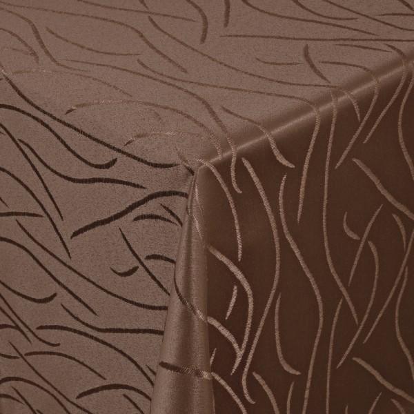 Tischdecken Damast Eckig mit Saum Streifen Dunkel-Braun