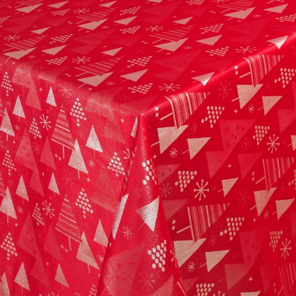 Weihnachtstischdecke Lurex-Tannen mit Glanzeffekt Rot