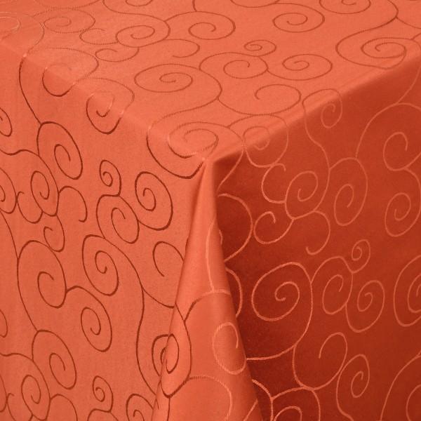 Tischdecken Damast Eckig mit Saum Ornamente Orange