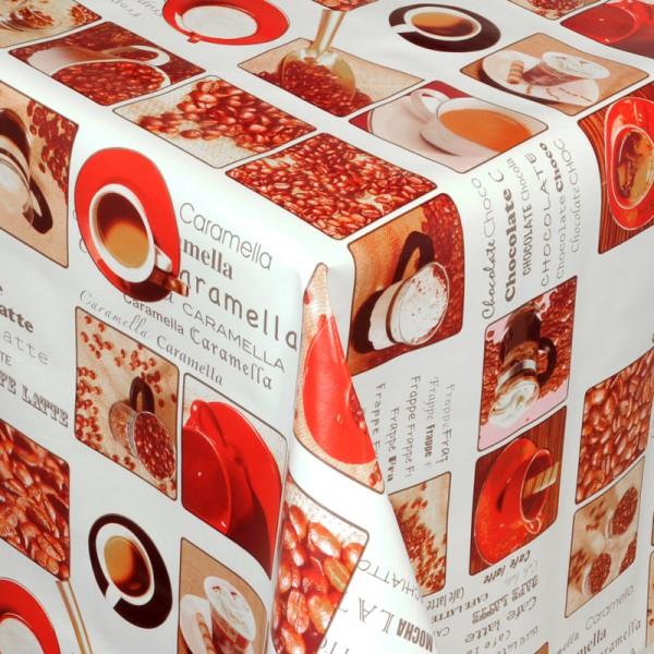 Tischdecke Abwaschbar Wachstuch Kaffee Motiv Weiss Braun im Wunschmaß