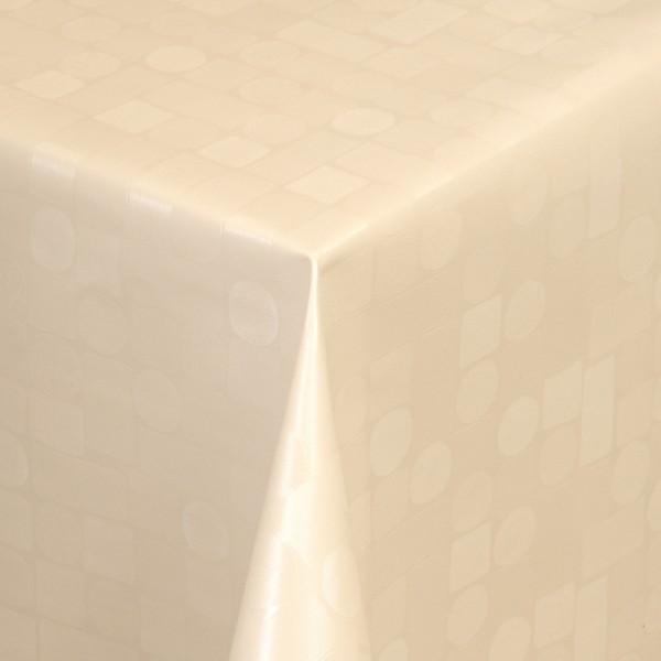 Tischdecke Abwaschbar Wachstuch Relief Karos Kreise Creme im Wunschmaß