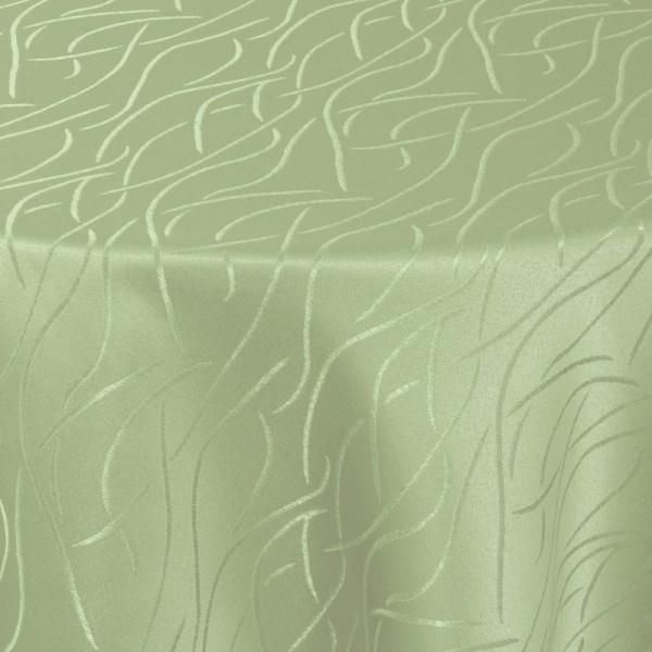 Tischdecken Damast Rund mit Saum Streifen Lind-Grün