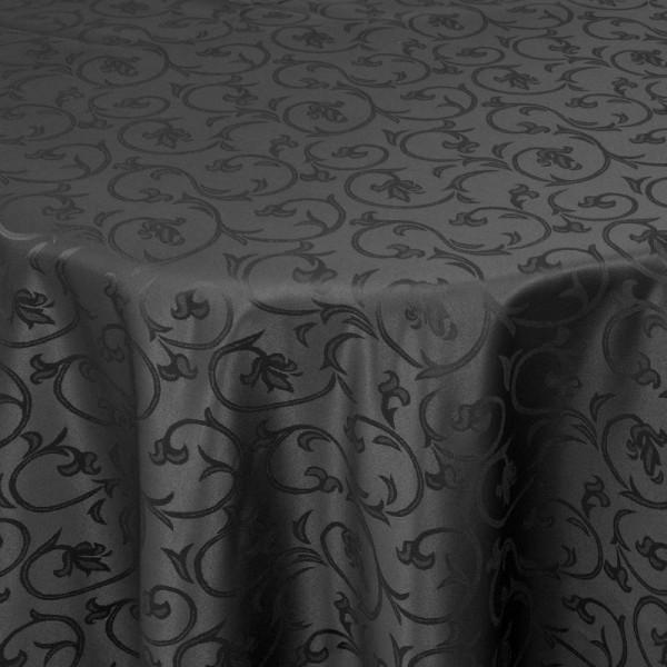 Tischdecken Damast Oval mit Saum Barock Schwarz