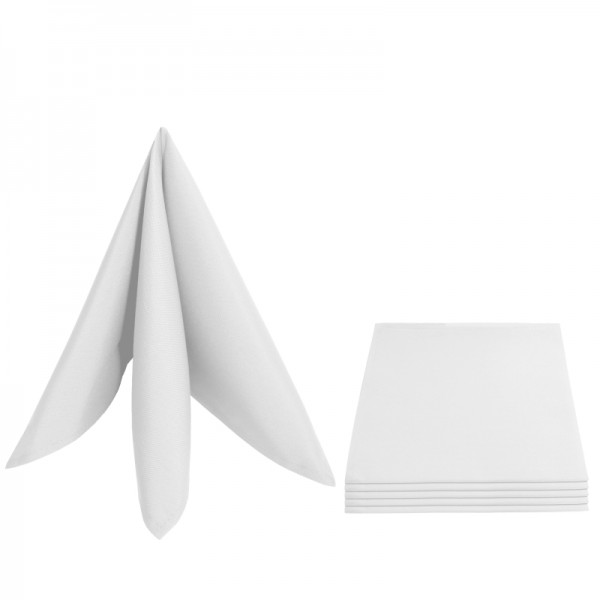 Servietten Damast Uni 50x50 Weiss (6er Pack)