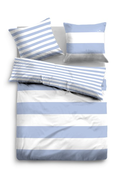 Bettwäsche Tom Tailor Wendebettwäsche Linon Baumwolle in Blau-Weiss