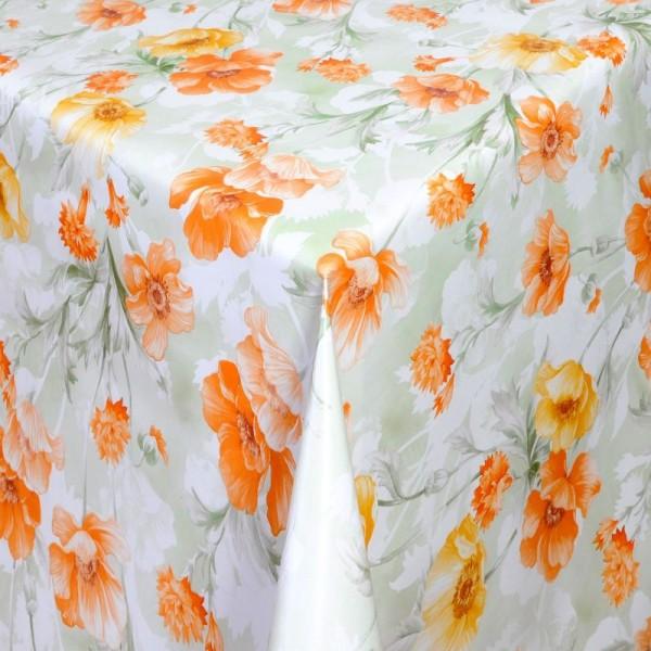 Tischdecke Abwaschbar Wachstuch Blumen Motiv Grün Orange im Wunschmaß