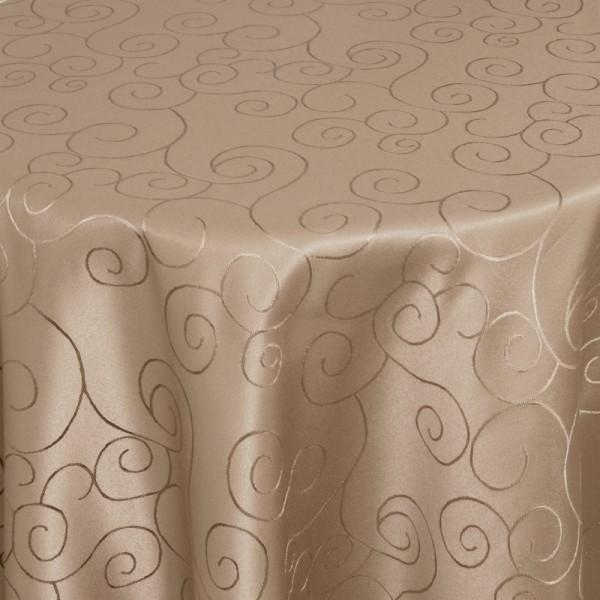 Tischdecken Damast Rund mit Saum Ornamente Hell-Braun