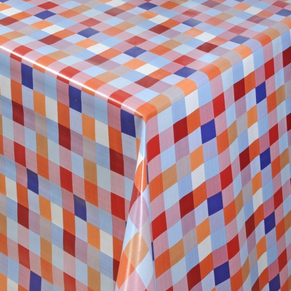 Tischdecke Abwaschbar Wachstuch Quadrate Motiv Rot Blau im Wunschmaß