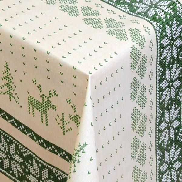 Tischdecke Abwaschbar Wachstuch Weihnachten Hirsch-Motiv Grün Wunschmaß