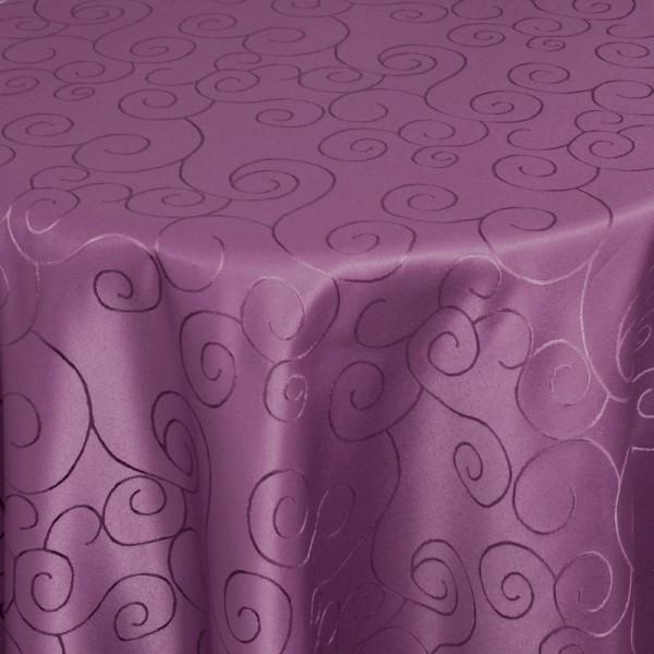 Tischdecken Damast Rund mit Saum Ornamente Lila