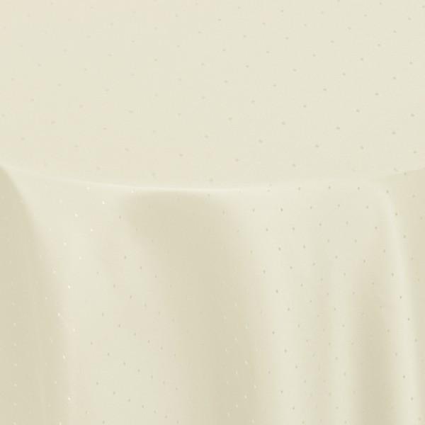 Tischdecken Damast Oval mit Saum Punkte Creme-Champagner