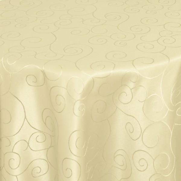 Tischdecken Damast Oval mit Saum Ornamente Creme-Beige