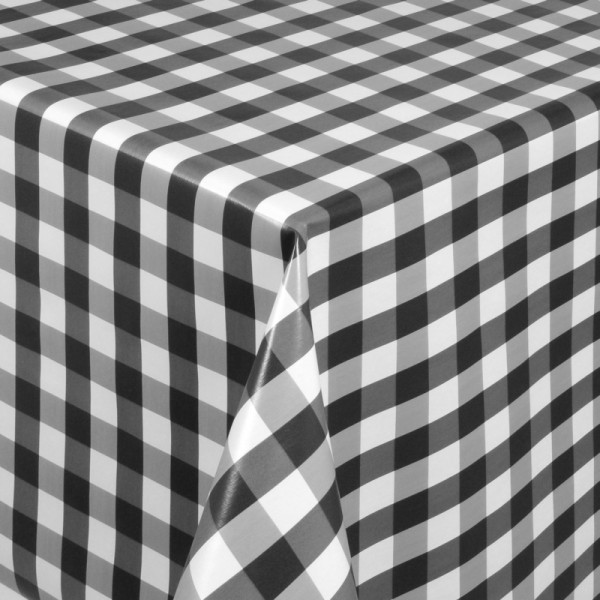 Tischdecke Abwaschbar Wachstuch Quadrate Motiv in Grau Weiss