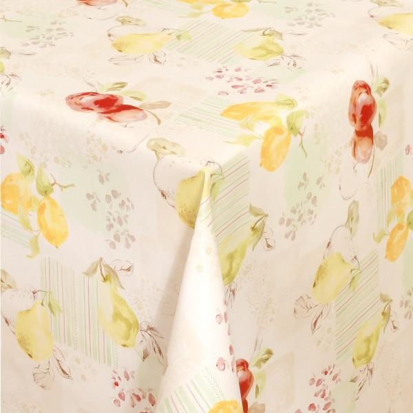 Tischdecke Wachstuch Lebensmittelecht Zitronen Motiv in Beige