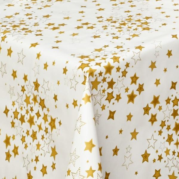 Tischdecke Wachstuch Weihnachten Lebensmittelecht Sterne Weiss Gold