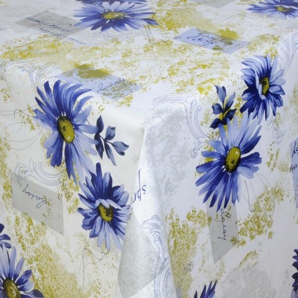 Tischdecke Abwaschbar Wachstuch Blumen Motiv Blau Weiss im Wunschmaß