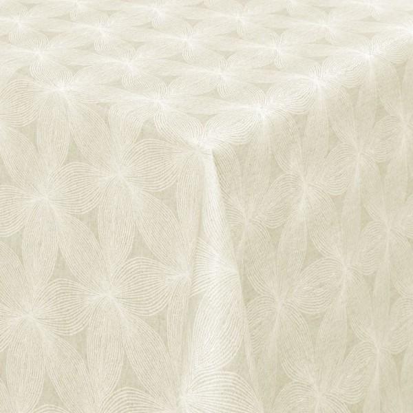 Tischdecken Jacquard-Gewebe mit Fleckschutz und Saum Elda in Creme