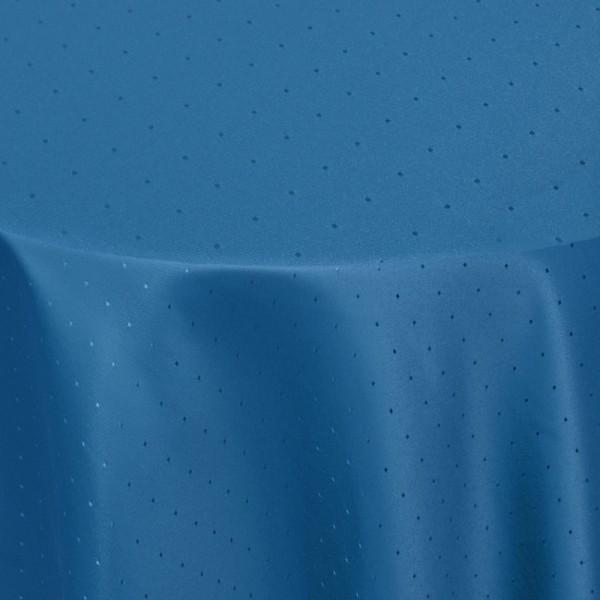 Tischdecken Damast Rund mit Saum Punkte Dunkel-Blau