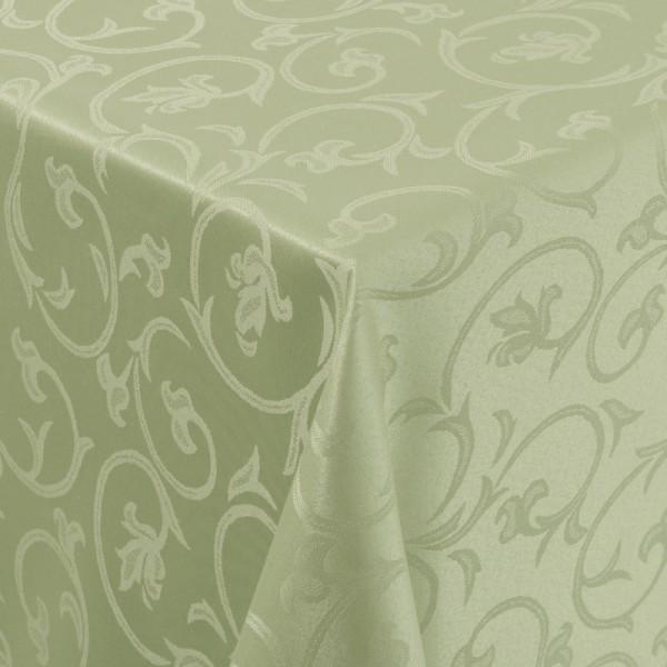 Tischdecken Damast Eckig mit Saum Barock Lind-Grün