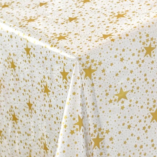 Schutz Tischdecke transparent durchsichtig Meterware mit Sternen in Gold