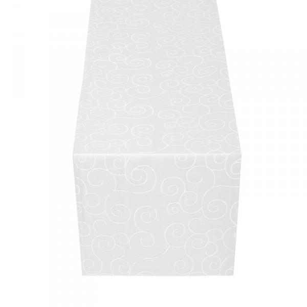 Tischläufer Tischband Ornamente in Weiss