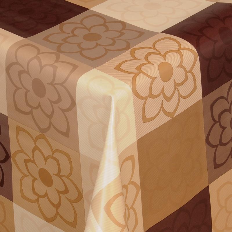 tischdecke abwaschbar wachstuch blumen motiv braun beige im wunschma. Black Bedroom Furniture Sets. Home Design Ideas