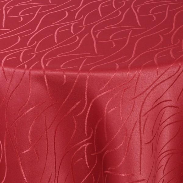 Tischdecken Damast Oval mit Saum Streifen Wein-Rot