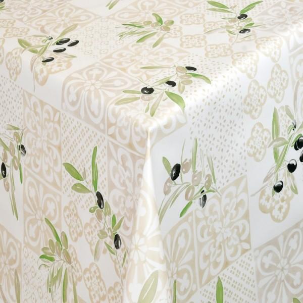 Tischdecke Abwaschbar Wachstuch Lebensmittelecht Oliven Motiv Beige